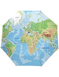 bennigiry azul etiqueta Mapa del mundo 3 Folds Auto Abrir Cerrar paraguas compacto de viento portátil