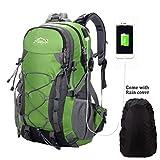Netchain aperto alpinismo zaino Zaino per uomini e donne campeggio escursione impermeabile bag per viaggiare trekking con parapioggia, donna, Green