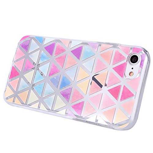 SainCat Coque Housse pour Apple iPhone 7,Transparent Brillante Coque Silicone Etui Housse,iPhone 7 Silicone Case Soft Gel Cover Anti-Scratch Transparent Case TPU Cover,Fonction Support Protection Comp Colorful triangle