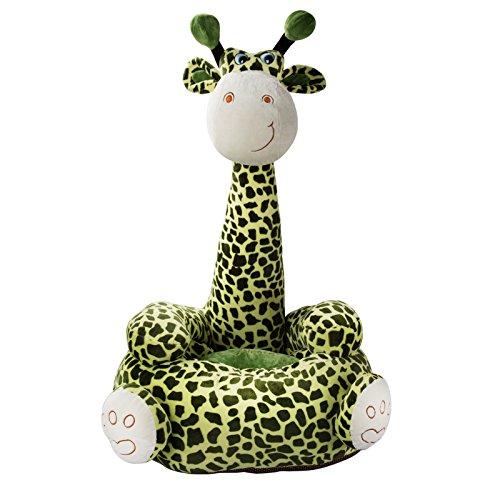 JAMMYLIZARD | Kindersitzsack Plüsch Kindersessel Bodenkissen Sitzkissen für Kinder, Kuschelige Giraffe (Grün)