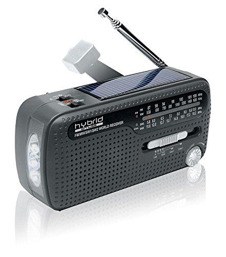 Muse MH-07DS tragbares Kurbel-Radio, Weltempfänger mit Taschenlampe und Solar-Ladefunktion (Dynamo, Handy-Lader, Solar, USB, Mini-USB) (Kleen-pool)