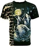 Rock Chang T-Shirt Loups Wolves Tied-Dye Batik Noir T-WRM 06