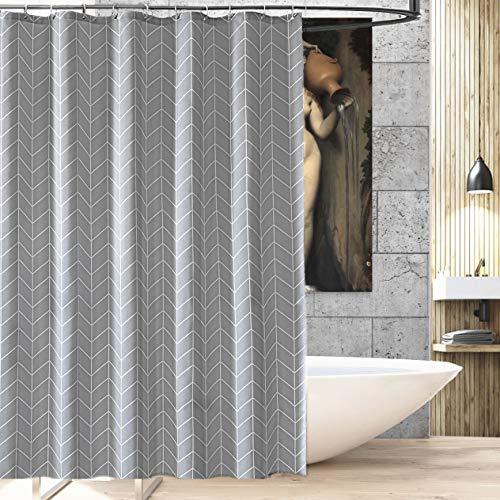 ng aus hochwertigem Stoff, schimmelresistent, 72 x 72 cm, Weiß und Grau 72''x72'' Gray Stripes ()