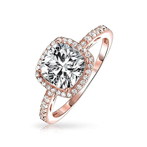 Halo Cz Verlobungsring (Rose Gold Plated Silver CZ Cushion Cut Halo Engagement Ring)