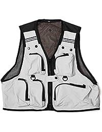 Chaleco de pesca - SODIAL(R) Ligero,comodo, Chaleco de red de multi bolsillos pesca Chaleco de trabajo de caza Chaleco al aire libre Blanco XXL