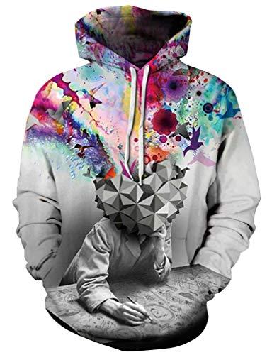 Ocean Plus Herren 3D Kapuzenpullover Hoodie Halloween Cosplay Sweatshirt Hooded Sweat Einzigartig Galaxie Pullover (XXL/3XL (Brustumfang: 126-146CM), Geistesblitz)