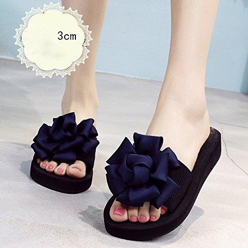 Estate Sandali 3.5cm - tacchi alti multicolori Femmina pantofole estive Scarpe da spiaggia con tacco alto Sandali di moda per 18-40 anni Colore / formato facoltativo Blue-3cm