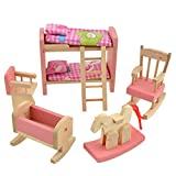 Picture Of Demiawaking Delicate House Furniture Pink Wooden Dolls Toy Miniature Baby Nursery Room Crib Chair Bunk Bed Pretend Play Kids Children Gift