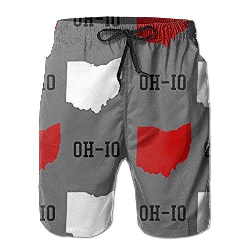 Kssnjs New Oh-io State Gray Men's Beach Pants,Shorts Beach Shorts Swim Trunks,Men's/Boys Casual Shorts Swim Trunks Swimwear Elastic Waist Beach Pants with Pockets XXL -