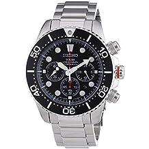 Seiko SSC015P1 - Reloj analógico de cuarzo para hombre con correa de acero inoxidable, color plateado