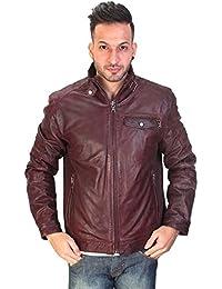 Bareskin men's oxblood leather regular-fit moto jacket