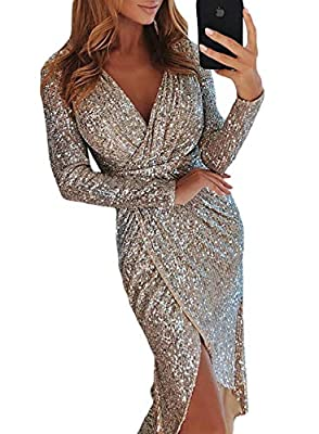 Happy Sailed Womens Long Sleeve Deep V Neck Sequins Wraped Midi Dresses
