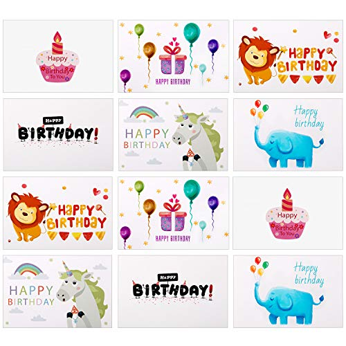 Birthday Cards, Wolintek Eco-Friendly Birthday Cards Unique Designs with Blank Envelopes, (12 Pcs Animal Style)