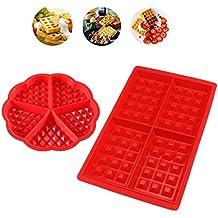 iNeith Waffle Mold 2 en 1 kit Silicona Horno Cacerola para Hornear Galletas para Tarta Muffin Cocina Herramientas Accesorios de Cocina