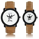 AK Analogue Off-White Dial Men's & Women's Couple Watch - Lr-King Queen