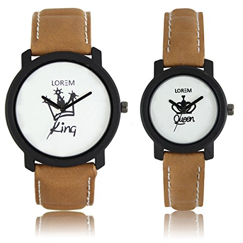 AK Analogue Off-White Dial Men's & Women's Couple Watch – Lr-King Queen image - Kerala Online Shopping