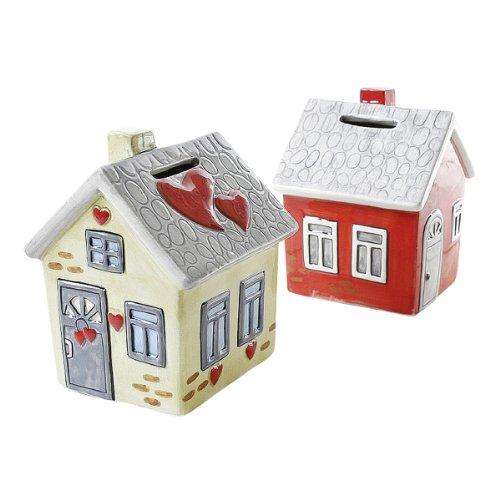 Spardose Keramik Haus – Richtfest Einzug rot/grau creme/grau  mit Schloss 9x9x12cm