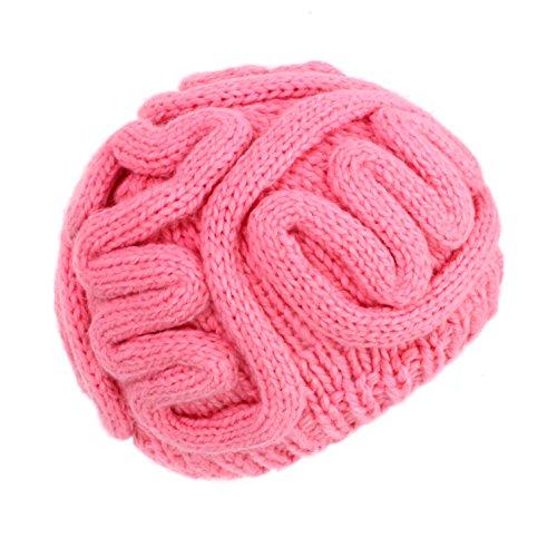 ze Hirnmütze Strickmütze Wintermütze Beanie warme Ski Mütze Hut Karneval rot pink BRAIN HAT (Rosa) (Zombie Gehirn Kopfbedeckung Erwachsene)