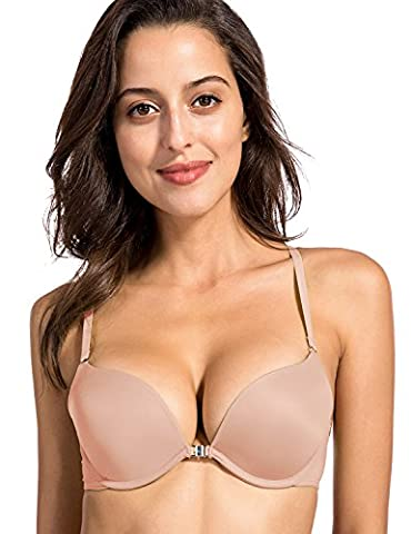 Dobreva Women's Sexy Front Close Padded Push Up Underwire X-back