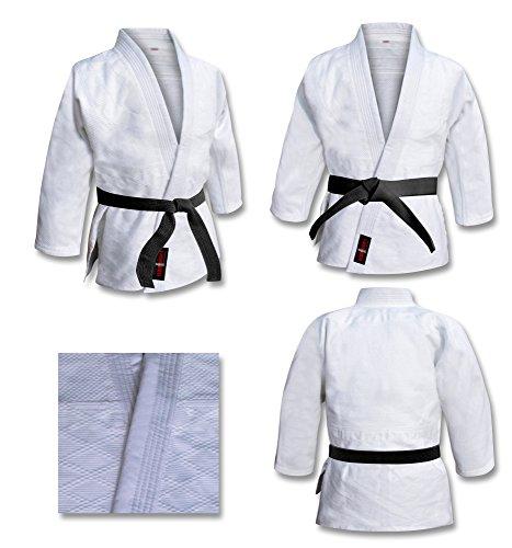 Uniforme de Judo en blanco lejía, para niños y adultos, kimono. Trajes blancos de judo - Blanco lejía, 100% algodón de punto, 2/150cm - Traje de judo para niños y adultos en blanco lejía Gi 100% algodón, uniforme BJJ kimono Ju-Jitsu Aikido. - Vader S...