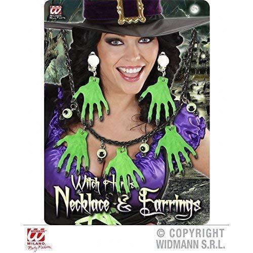 Lively Moments Halloween Schmuck - Kette und Ohrringe mit Hexenhände in grün / Kostüm / Zubehör / Halloweenschmuck / - Topf Mit Gold Kostüm