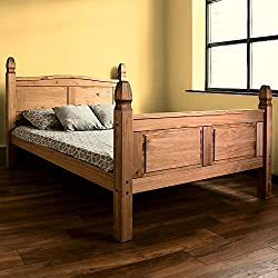 Home Discount Corona Double Bed, 4 ft 6, High Foot End Bed Frame, Solid Pine Wood