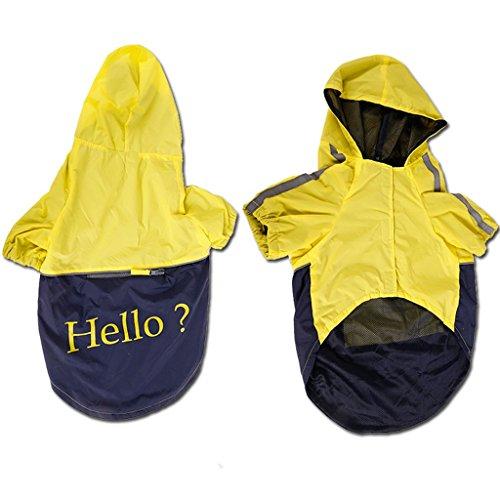 Generic Pet Large Dog Rain Slicker Raincoat Size XXL - Yellow with dark blue
