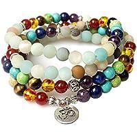 Schmuck, 8mm Amazonit Heilung 108buddhistische Gebetskette Mala Beads Anhänger OM 7Chakra Yoga Armband Halskette preisvergleich bei billige-tabletten.eu