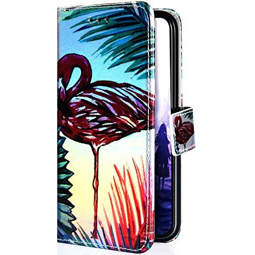Uposao Kompatibel mit Samsung Galaxy J6 2018 Hülle Leder Tasche Glitzer Bling Bunt Muster Flip Schutzhülle Handyhülle Book Case Brieftasche Wallet Cover Magnet Kartenfächer,Flamingos Baum