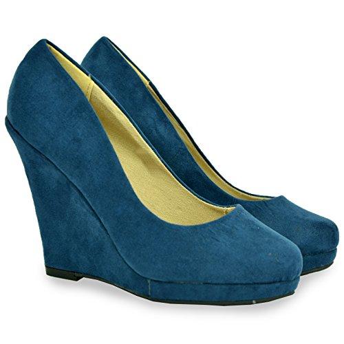 Cucu Fashion ,  Damen Durchgängies Plateau Sandalen mit Keilabsatz Blue Suede