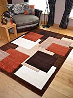 Tempo Rust Beige Square Design Thick Quality Modern Carved Rugs. Available in 6 Sizes by Rugs Supermarket