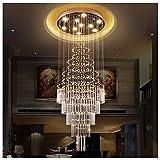 Y.H_Super Kronleuchter Deckenbeleuchtung Kronleuchter Doppel Treppenhaus LED Kristall Lampe Halle Wohnzimmer Lange Kronleuchter Luxus Hängende Linie Lampe