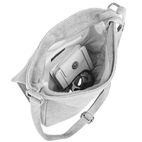 OBC ital-design Stern Tasche Wildleder Schultertasche Damentasche Henkeltasche CrossOver Sportliche Tasche Umhängetasche (Cognac) Beige