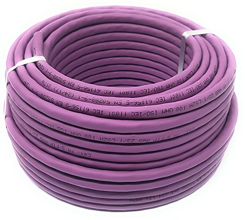 reulin 50m (M) Cat 7a Spule–Ethernet Kabel, Halogen Free 1200MHz/kupfer/Super schnelle Netzwerk-Kabel–(PoE)/PoE + (50m m lila)