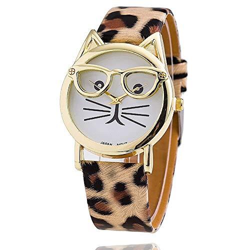Haiyemao Gummi Sportuhr Katze Quarz Uhren Nette Brille Katze Armbanduhr Kunstleder Armband Band Analog Armbanduhr Für Frauen Mädchen Sportuhr Unisex