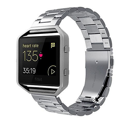 Simpeak Fitbit Blaze Band, Edelstahl Metall Ersatzband Armband für Fitbit Blaze, Silver