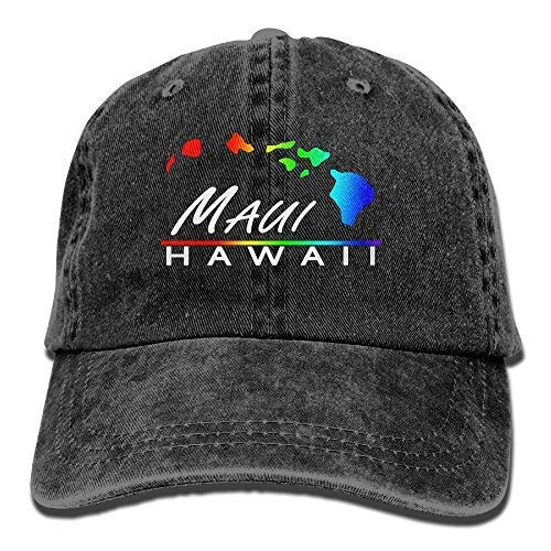 Dsarqwe Maui - Hawaiian Islands Men's Women's Cotton Denim Fabric Hip-hop Cap Adjustable Jeans Baseball Hat (Hat Maui)