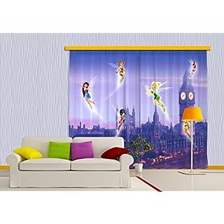 AG DESIGN Disney Fairies, Children's Room Curtain, 280x245 cm, 2 Parts (140x245 cm), FCCXXL 4004, Polyester Multi-Colour, 0.1 x 280 x 245 cm