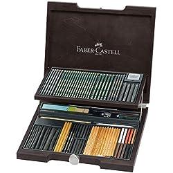 Faber-Castell 112971 - Estuche de madera Pitt monochrome con 86 piezas selección de ecolápices, tizas, carboncillos y grafitos con accesorios