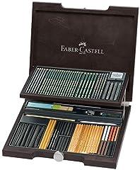 Idea Regalo - Faber Castell MONOCHROME - Valigia in legno mogano con 86 pezzi per disegno