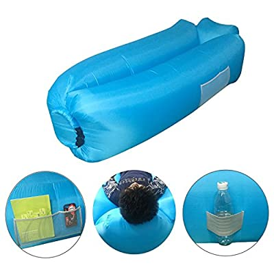 Air Lounger Sofa Bed Chair, Waterproof Portable Self Inflating Travel Camping Mattress Lounge Bench with Storage Bag for Outdoor Sleeping, Pool Parties, Beach Lounging - inexpensive UK light store.