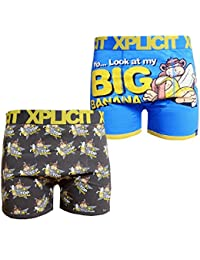 Xplicit Bunch Mens Banana Pattern Twin Pack Boxer Shorts Underwear