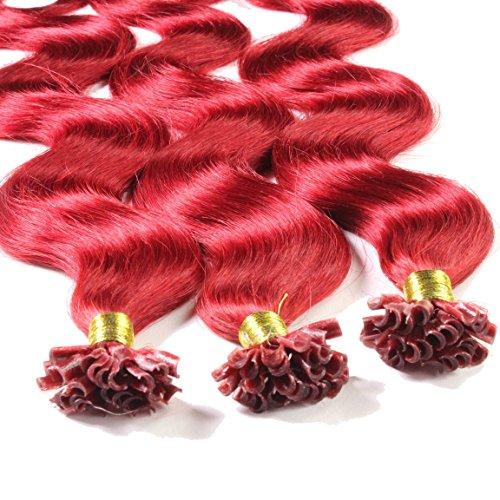 hair2heart 25 x 0.5g Echthaar Bonding Extensions, gewellt - 50cm - #rot