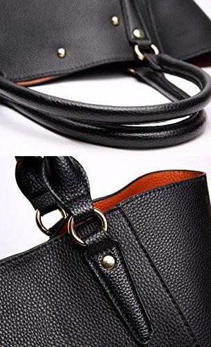 Tibes Moda spalla sacchetto impermeabile borsetta di pelle sintetica C Nero 3