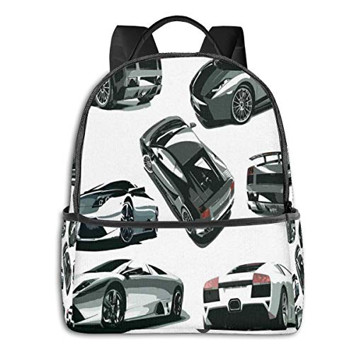 College School Backpacks,Grey Cars from Various Angles Automobile Industry Vehicle Theme Picture,Casual Hiking Travel Daypack