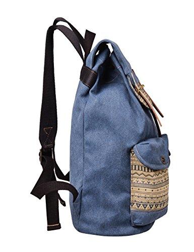 """Douguyan Canvas Fashion Rucksack Groß Damen Backpack Womens Daypack Baumwoll Mädchen Schulrucksack Vintage Schulranzen 15,6"""" Notebook Backpack Laptop Rucksack mit Laptopfach Girls School Backpack Reis Blau"""