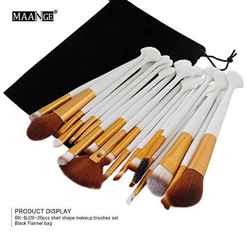Clearance Sale! Makeup Brushes Set LEEDY Shell 20pcs Professional Makeup Brush, Face Eye Shadow Foundation Blush Lip Make up Brush Powder Liquid Cream Cosmetics Blending Brush Tool Kits