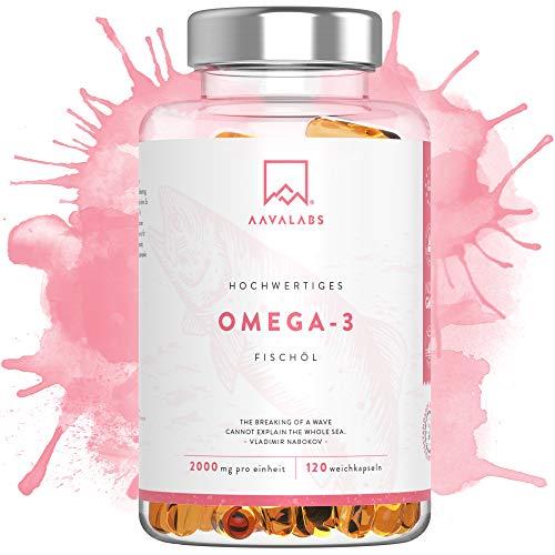 Omega 3 Fischöl [ 2000mg ] von Aava Labs – Hohe Stärke – Molekular destilliert für höchste Reinheit und Frische - 800mg EPA & 400mg DHA pro Tagesdosis - Frei von Gentechnik und Gluten - 120 Kapseln (Badartikel)