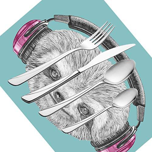 30-teiliges Besteckset, Faultiergeschirr Besteckset aus Edelstahl für 6 Personen, einschließlich Messer, Gabeln, Löffel, Teelöffel und Tischset, DJ-Faultierporträt mit Kopfhörern Funny Moder - Dj-besteck