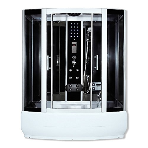 Home Deluxe - Duschtempel - Diamond schwarz - Maße: 190 x 900 x 220 cm - inkl. Whirlpool und Dampfsauna